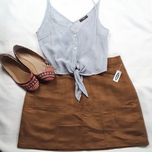 Old Navy faux suede sz 14 brown skirt NWT